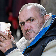 Beggars on the streets of Glasgow.  Eddie. Picture Robert Perry for The Sunday Herald 13th May 2016<br /> <br /> Must credit photo to Robert Perry<br /> <br /> FEE PAYABLE FOR REPRO USE<br /> FEE PAYABLE FOR ALL INTERNET USE<br /> www.robertperry.co.uk<br /> NB -This image is not to be distributed without the prior consent of the copyright holder.<br /> in using this image you agree to abide by terms and conditions as stated in this caption.<br /> All monies payable to Robert Perry<br /> <br /> (PLEASE DO NOT REMOVE THIS CAPTION)<br /> This image is intended for Editorial use (e.g. news). Any commercial or promotional use requires additional clearance. <br /> Copyright 2016 All rights protected.<br /> first use only<br /> contact details<br /> Robert Perry     <br /> 07702 631 477<br /> robertperryphotos@gmail.com<br />         <br /> Robert Perry reserves the right to pursue unauthorised use of this image . If you violate my intellectual property you may be liable for  damages, loss of income, and profits you derive from the use of this image.