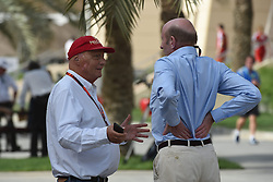 18.04.2015, International Circuit, Sakhir, BHR, FIA, Formel 1, Grand Prix von Bahrain, Qualifying, im Bild Niki Lauda (AUT) Mercedes AMG F1 Non-Executive Chairman with Donald Mackenzie (GBR) CVC CAPITALPartners Managing Partner - Co Head of Global Investments // during Qualifying of the FIA Formula One Bahrain Grand Prix at the International Circuit in Sakhir, Bahrain on 2015/04/18. EXPA Pictures © 2015, PhotoCredit: EXPA/ Sutton Images/ Mark<br /> <br /> *****ATTENTION - for AUT, SLO, CRO, SRB, BIH, MAZ only*****