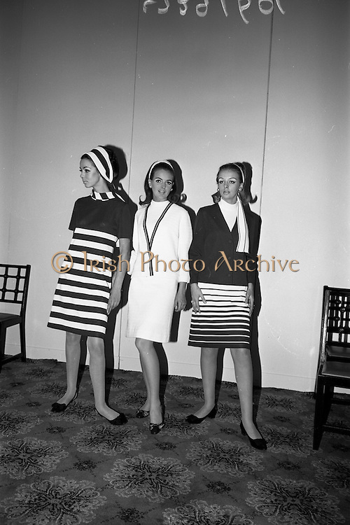 """11/10/1966<br /> 10/11/1966<br /> 11 October 1966<br /> Fashions, Blarney by Clodagh. Silverline Fashions of Nenagh (Co. Tipperary) launching its 1967 collection """"Blarney by Clodagh"""" using Linnet Fabric at the Royal Hibernian Hotel, Dublin. Silverline Fashions Ltd. was a subsidiary company of Martin Mahoney and Co. Ltd. Cork. Picture shows (l-r): Liz Willoughby; Unknown and Suzanne McDougan modelling garments from the collection."""