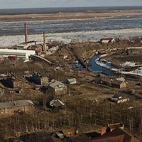 Close to the Arctic Circle in Russia, the town of Mezen sits beside the Mezen river, which is melting free from ice in the spring thaw.