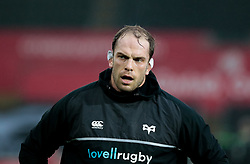 Ospreys' Alun Wyn Jones during the pre match warm up<br /> <br /> Photographer Simon King/Replay Images<br /> <br /> EPCR Champions Cup Round 4 - Ospreys v Northampton Saints - Sunday 17th December 2017 - Parc y Scarlets - Llanelli<br /> <br /> World Copyright © 2017 Replay Images. All rights reserved. info@replayimages.co.uk - www.replayimages.co.uk