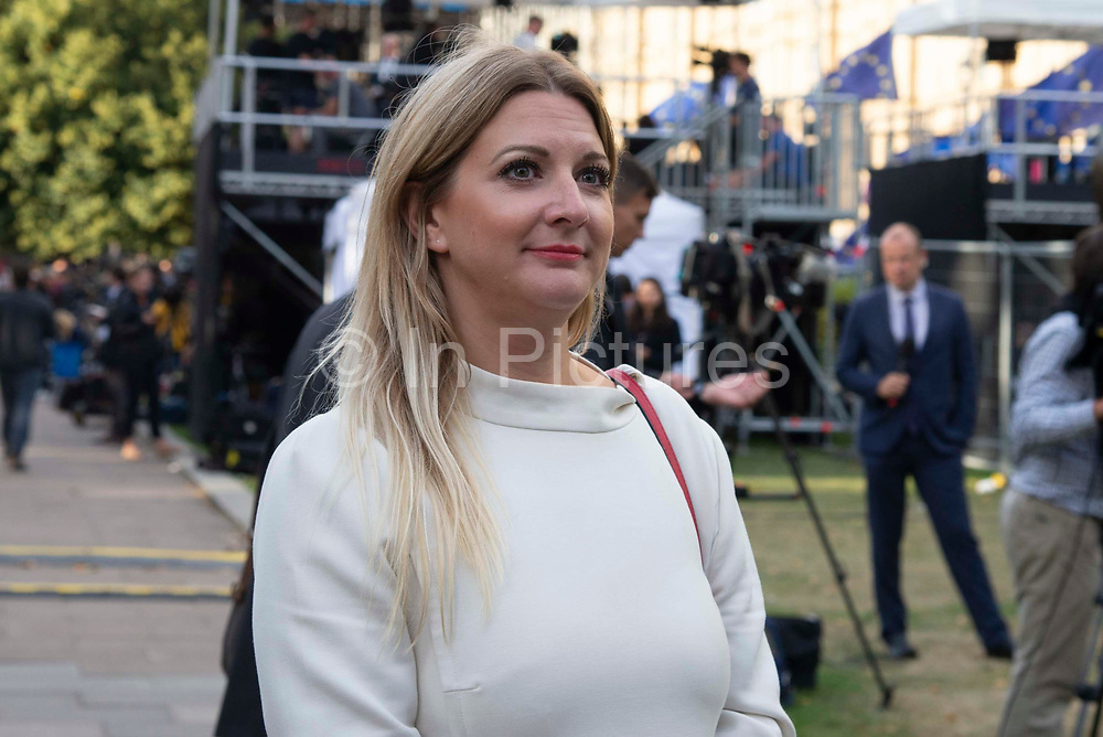 Former Cambridge Analytica employee Alexandra Phillips, Brexit Party MEP in Westminster on the day that Parliament reconvenes after summer recess to debate and vote on a bill to prevent the UK leaving the EU without a deal at the end of October, on 3rd September 2019 in London, England, United Kingdom. Alexandra Phillips has admitted working for SCL,  Cambridge Analytica's parent company on President Uhuru Kenyatta's successful re-election campaign in Kenya.