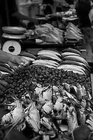 All kinds of seafood are available for purchase at the waterfront market in kota kinabalu.