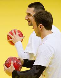 Dragan Gajic and Uros Zorman during practice of Slovenia Men Handball team 1 day before the beginning of 10th EHF European Handball Championship Serbia 2012, on January 14, 2012 in Vrsac, Serbia.  (Photo By Vid Ponikvar / Sportida.com)