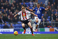 Duncan Watmore of Sunderland shields the ball from Leon Osman of Everton. Barclays Premier League match, Everton v Sunderland at Goodison Park in Liverpool on Sunday 1st November 2015.<br /> pic by Chris Stading, Andrew Orchard sports photography.