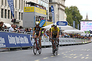 Edvald Boasson Hagen and Tyler Farrar of Team MTN-Qhubeka before the London Stage of the Aviva Tour of Britain, Regent Street, London, United Kingdom on 13 September 2015. Photo by Ellie Hoad.