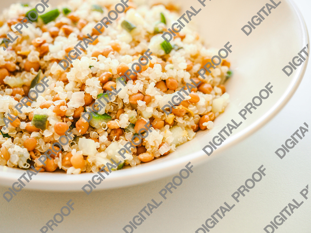 Quinoa and lentils salad in a plate detail view