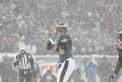 Philadelphia Eagles quarterback Nick Foles #9 looks downfield for a receiver during the NFL game between the Detroit Lions and the Philadelphia Eagles on Sunday, December 8th 2013 in Philadelphia. (Photo by Brian Garfinkel)