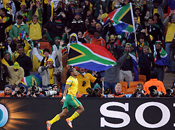 100611) -- JOHANNESBURG, June 11, 2010 (Xinhua) -- South Africa's player Siphiwe Tshabalala celebrates a goal during a group A match of the 2010 FIFA World Cup against Mexico at Soccer City stadium in Soweto, suburban Johannesburg, on June 11, 2010. The match ended with a 1-1 tie. (Xinhua/Guo Yong) (ljq) (Credit Image: © Xinhua/ZUMApress.com)