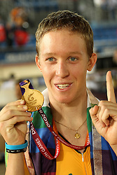 Cameron Meyer of Australia celebrates gold during the Men's 40km Points Race Final in the Velodrome at the Indira Gandhi Sports Complex in New Delhi as part of the X1X Commonwealth Games, India on the 5 October 2010..Photo by:  Ron Gaunt/SPORTZPICS/PHOTOSPORT
