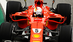November 11, 2017 - Brazil - SAO PAULO, SP - 11.11.2017: QUALIFYING PARA GP F1 - In the photo the pilot, Sebastian Vettel of Scuderia FERRARI, during free practice in the part of this morning. Classifying training day on Saturday (11), for the Brazilian Formula 1 Grand Prix, which will take place on Sunday (12) at the Jose Carlos Pace racetrack in Interlagos. (Credit Image: © Fotoarena via ZUMA Press)