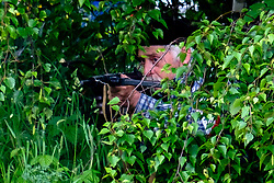 A reenactor hiding in bushes with a Sten Submachine Gun portrays an FFI (French Forces of the Interior) resistance fighter of world war 2<br /> <br />  Copyright Paul David Drabble<br /> 2nd June 2019<br />  www.pauldaviddrabble.co.uk