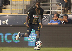 July 26, 2017 - Chester, PA, United States of America - Philadelphia Union Midfielder MARCUS EPPS (20) dribbles up field in the second half of a Major League Soccer match between the Philadelphia Union and Columbus Crew SC Wednesday, July. 26, 2017, at Talen Energy Stadium in Chester, PA. (Credit Image: © Saquan Stimpson via ZUMA Wire)