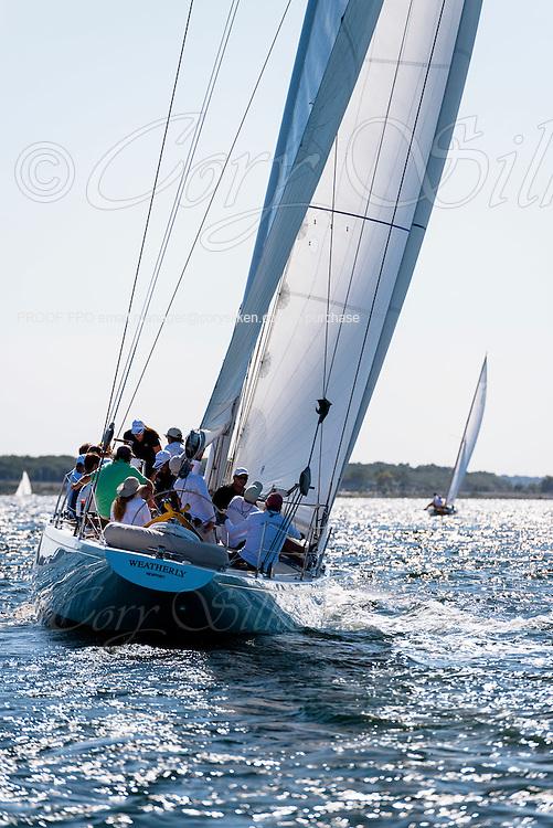 Weatherly sailing in the Newport Classic Yacht Regatta.