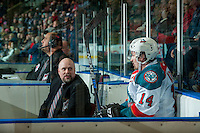 KELOWNA, CANADA - JANUARY 4: Jake Kryski #14 of the Kelowna Rockets sits in the penalty box and speaks to ice officials against the Spokane Chiefs on January 4, 2017 at Prospera Place in Kelowna, British Columbia, Canada.  (Photo by Marissa Baecker/Shoot the Breeze)  *** Local Caption ***