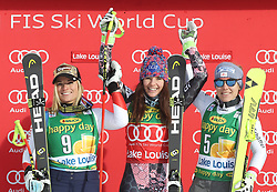 03.12.2017, Lake Louise, CAN, FIS Weltcup Ski Alpin, Lake Louise, Super G, Damen, Siegerehrung, im Bild Lara Gut (SUI),Tina Weirather (LIE),Nicole Schmidhofer (AUT) // Lara Gut of Switzerland Tina Weirather of Liechtenstein Nicole Schmidhofer of Austria during the winner ceremony of ladie's Super G of FIS Ski Alpine World Cup in Lake Louise, Canada on 2017/12/03. EXPA Pictures © 2017, PhotoCredit: EXPA/ SM<br /> <br /> *****ATTENTION - OUT of GER*****