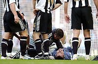 Photo: Olly Greenwood.<br />West Ham United v Newcastle United. The Barclays Premiership. 17/09/2006. Newcastle United's Shay Given lies injured