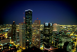 Stock photo of an aerial View of downtown Houston Skyline at Night