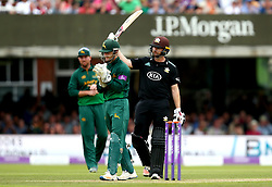 Mark Stoneman of Surrey celebrates reaching 100 runs during his innings in the Royal London One-Day Cup Final - Mandatory by-line: Robbie Stephenson/JMP - 01/07/2017 - CRICKET - Lord's Cricket Ground - London, United Kingdom - Nottinghamshire v Surrey - Royal London One-Day Cup Final 2017
