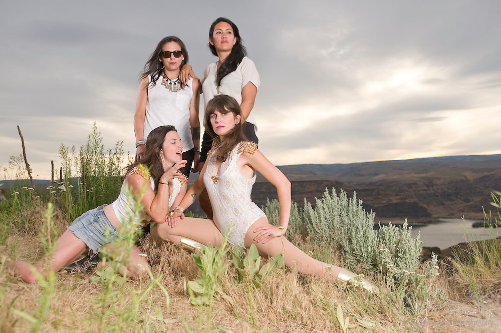 GEORGE, WA - MAY 24: (From Left) Whitney Petty, Leah Julius, Lena Simon and Molly Sides of Thunderpussy pose for a portrait backstage at Sasquatch! Music festival at the Gorge Amphitheater on May 24, 2015 in George, Washington. (Photo by Steven Dewall)