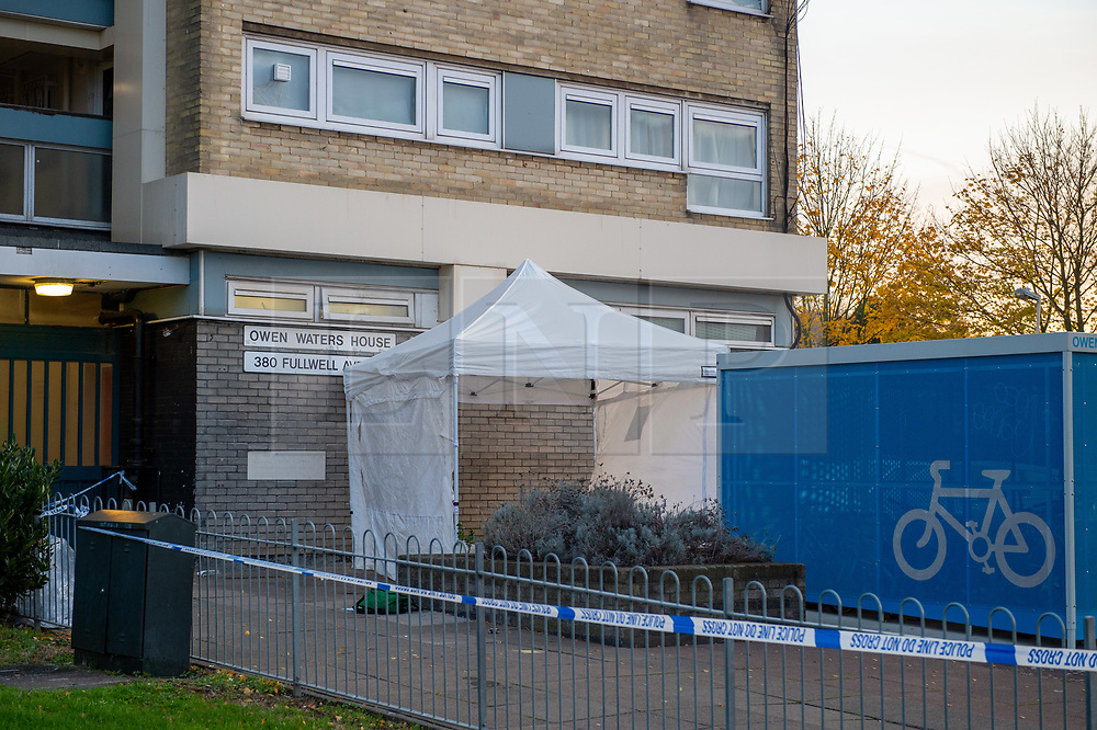 © Licensed to London News Pictures. 20/11/2019. Ilford, UK. A forensic tent at the crime scene where a teenager has been stabbed to death. Police were called at 22:20hrs on Tuesday, 19 November to Fullwell Avenue, Ilford, following reports of a fight outside Owen Waters House. Officers attended and found a 19-year-old man suffering from stab injuries. Police administered first aid before paramedics from the London Ambulance Service arrived. However despite their best efforts, the victim died at the scene. Photo credit: Peter Manning/LNP