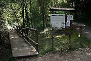 Passerelle in legno vicina allo stagno del Parco di Montevecchia...Wooden catwalk near the pond of Montevecchia park.