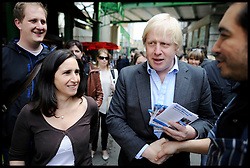 Boris Johnson and his wife Marina campaigning in Borough Market, London, during the London Mayoral Campaign, Saturday April 21, 2012. Photo By Andrew Parsons/I-images