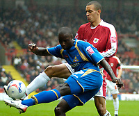 Photo: Ed Godden.<br />Bristol City v Doncaster Rovers. Coca Cola League 1. 28/10/2006. Bristol's Nick Wright (R) challenges Jonathan Forte from behind.