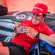 Leg 6 to Auckland, day 17 on board MAPFRE, Tamara Echegoyen Eating on deck after her watch. 23 February, 2018.
