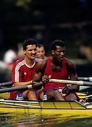 Bled, Slovenia, YUGOSLAVIA. CUB M2+, Roberto OJEDA GONZALEZ, Ricardo RODRIGUEZ SILVA, cox, Arnaldo RODRIGUEZ SILVA, ???<br /> 1989 World Rowing Championships, Lake Bled. [Mandatory Credit. Peter Spurrier/Intersport Images]