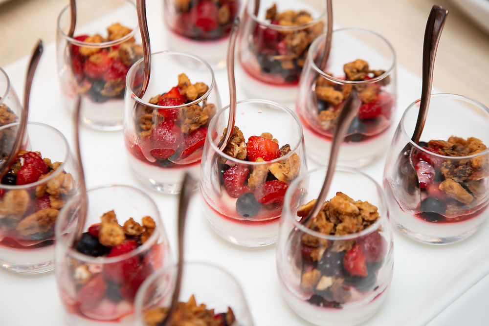 Yogurt Panna Cotta, a dessert by chefs Belinda Leong and Michel Suas at the kick-off event for the James Beard Foundation's Taste America®'s 10-city national event, held August 1, 2018 at the James Beard House in New York City. <br /> <br /> CREDIT: Clay Williams for The James Beard Foundation.<br /> <br /> © Clay Williams / http://claywilliamsphoto.com
