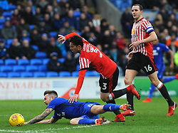 Bryan Oviedo of Sunderland fouls Joe Ralls of Cardiff City- Mandatory by-line: Nizaam Jones/JMP- 13/01/2018 -  FOOTBALL - Cardiff City Stadium - Cardiff, Wales -  Cardiff City v Sunderland - Sky Bet Championship