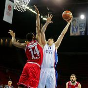 Anadolu Efes's Milko Bjelica (C) during their Turkish Basketball League match Anadolu Efes between Ted Kolej at Abdi Ipekci Arena in Istanbul Turkey on Monday 16 March 2015. Photo by Aykut AKICI/TURKPIX