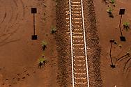 Tracks in the desert near a mine site in the Pilbara region of Western Australia.