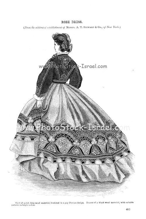 New Style of Robe from Godey's Lady's Book and Magazine, December, 1864, Volume LXIX, (Volume 69), Philadelphia, Louis A. Godey, Sarah Josepha Hale,