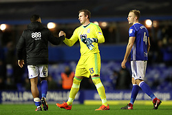 Birmingham City goalkeeper David Stockdale (centre) celebrates at the final whistle