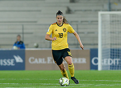 October 9, 2018 - Biel, SWITZERLAND - Belgium's Laura De Neve pictured in action during a soccer game between Switzerland and Belgium's national team the Red Flames, Tuesday 09 October 2018, in Biel, Switzerland, the return leg of the play-offs qualification games for the women's 2019 World Cup. BELGA PHOTO DAVID CATRY (Credit Image: © David Catry/Belga via ZUMA Press)