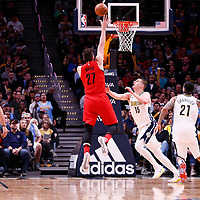09 April 2018: Portland Trail Blazers center Jusuf Nurkic (27) goes for the baby hook over Denver Nuggets center Nikola Jokic (15) during the Denver Nuggets 88-82 victory over the Portland Trail Blazers, at the Pepsi Center, Denver, Colorado, USA.