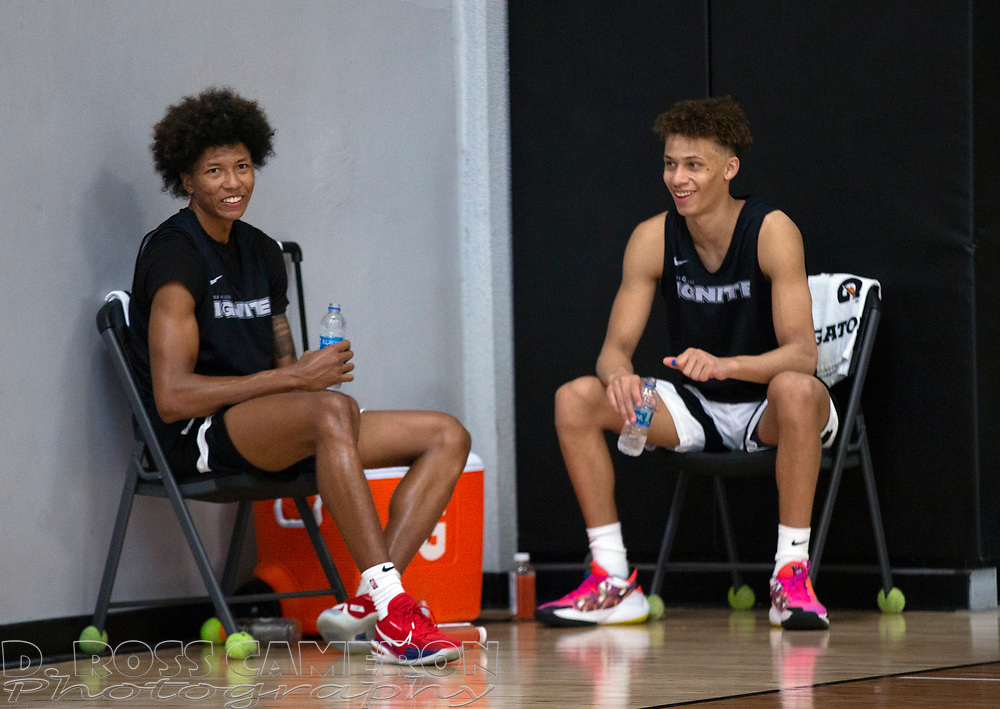G League Ignite's MarJon Beauchamp, left, and teammate Dyson Daniels commiserate between drills with the team on Tuesday, Sept. 28, 2021 in Walnut Creek, Calif.