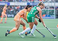 AMSTELVEEN - Stella van Gils (Ned) met Megan Frazer (Ier)  tijdens de dames hockeywedstrijd , Nederland-Ierland (4-0)  bij het EK hockey. Euro Hockey 2021.   COPYRIGHT KOEN SUYK