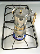making espresso coffee on a gas stove