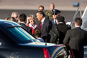 17 FEBRUARY 2009 -- President Barack Obama greets Gov. Jan Brewer during the arrival of President Barack Obama at Sky Harbor Airport Tuesday.   PHOTO BY JACK KURTZ