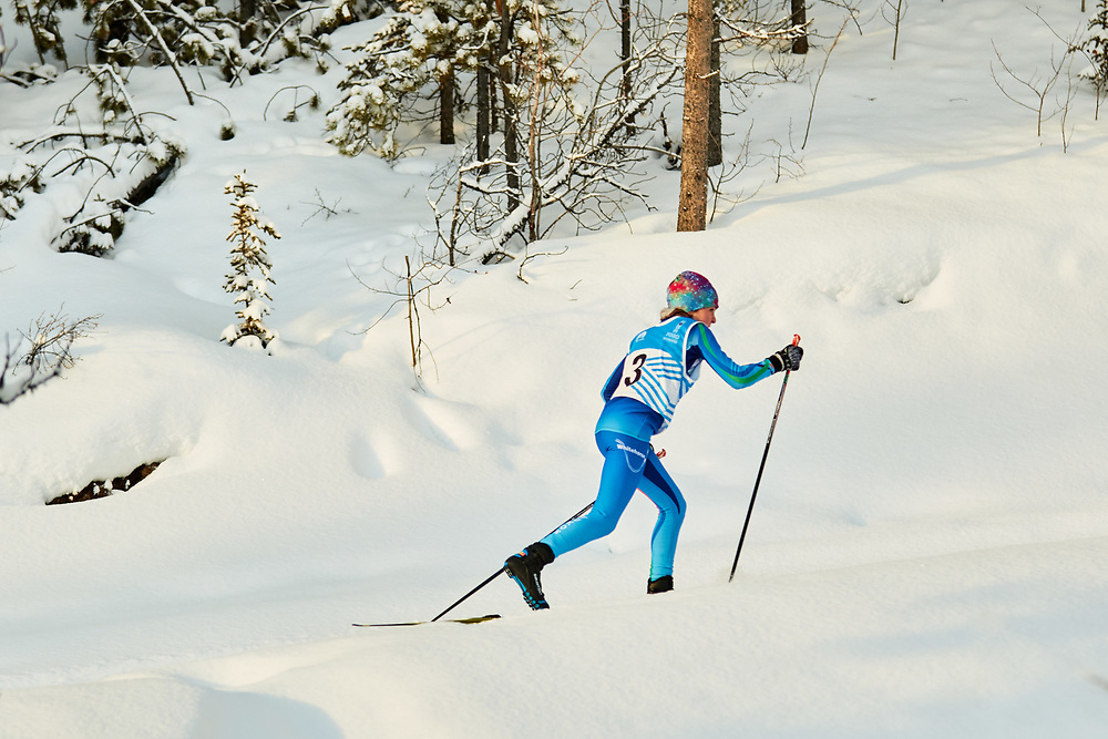 Fin Bradford (U14 Boy) skis during the 2020 Don Sumanik Ski Race (classic style) at the Mount McIntyre Recreation Centre, December 6, 2020.