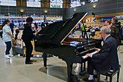 Rocky Mountaineer train terminal, Vancouver, BC, grand piano reception, British Columbia