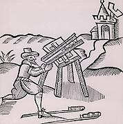 An Artificer or Pyrotechnist firing a rocket.  Woodcut from 'Recreations mathematiques' by Jean Leurechon (Rouen, 1628).