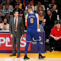 21 January 2018: New York Knicks forward Kristaps Porzingis (6) talks to New York Knicks head coach Jeff Hornacek during the LA Lakers 127-107 victory over the New York Knicks, at the Staples Center, Los Angeles, California, USA.