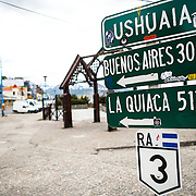 The southern endpoint of National Route 3  (Ruta Nacional 3) in Ushuaia, Argentina. The highway runs north from Ushuaia for 1,892 miles to end up in Buenos Aires.