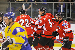 25.04.2010, Eishalle, IJssportcentrum, Tilburg, NED, IIHF Division I WM, Gruppe A, Österreich vs Ukraine im Bild Team Austria celebrates the opening goal, EXPA Pictures © 2010, PhotoCredit/ EXPA/ Fintan Planting / SPORTIDA PHOTO AGENCY
