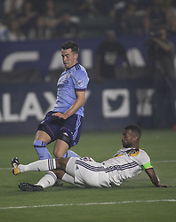 August 12, 2017 - Carson, California, U.S - Ashley Cole #3 of the Los Angeles Galaxy challenges for the ball during their MLS game with the New York FC on Saturday August 12, 2017 at StubHub Center in Carson, California. LA Galaxy loses to New York FC, 2-0. (Credit Image: © Prensa Internacional via ZUMA Wire)