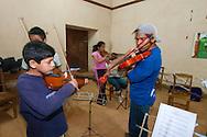 During the rehearsal of Santa Ana de Velasco's youth orchestra.
